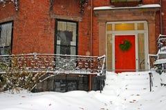Εικόνα αποθεμάτων ενός χιονίζοντας χειμώνα στη Βοστώνη, Μασαχουσέτη, ΗΠΑ Στοκ Εικόνα