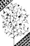 Εικόνα δέντρων Doodle για το χρωματίζοντας Μαύρο που απομονώνεται Στοκ Φωτογραφίες