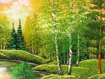 Εικόνα & x22 Δασικό Landscape& x22  Στοκ φωτογραφία με δικαίωμα ελεύθερης χρήσης