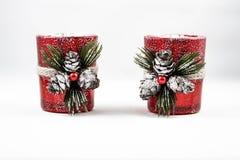 Εικόνα δύο διακοσμήσεων κεριών Χριστουγέννων στοκ εικόνα