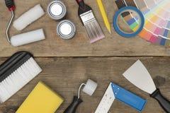 Εικόνα εμβλημάτων της ζωγραφικής του εξοπλισμού Wooden Background Copy Spa Στοκ εικόνα με δικαίωμα ελεύθερης χρήσης