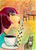 Εικόνα ενός κοριτσιού που ονειρεύεται σε έναν καφέ στοκ εικόνες με δικαίωμα ελεύθερης χρήσης