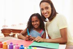 Εικόνα ζωγραφικής μητέρων με την κόρη στο σπίτι Στοκ εικόνες με δικαίωμα ελεύθερης χρήσης