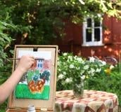 εικόνα ζωγραφικής χεριών καλλιτεχνών jasmin της σύνθεσης σπιτιών λουλουδιών και εξοχικών σπιτιών Στοκ εικόνα με δικαίωμα ελεύθερης χρήσης