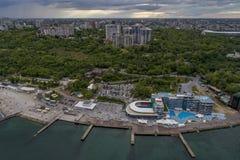 Εικόνα κηφήνων της παραλίας Οδησσός Ουκρανία Langeron Στοκ φωτογραφία με δικαίωμα ελεύθερης χρήσης