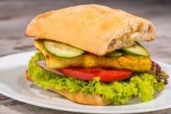 Εικόνα κινηματογραφήσεων σε πρώτο πλάνο του χορτοφάγου σάντουιτς με tofu Στοκ Φωτογραφία