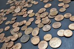 Εικόνα κινηματογραφήσεων σε πρώτο πλάνο των ευρο- νομισμάτων σεντ Στοκ Φωτογραφία