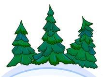 Εικόνα κινούμενων σχεδίων τριών κωνοφόρων άσπρος-μπλε snowdrifts Στοκ εικόνα με δικαίωμα ελεύθερης χρήσης