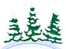Εικόνα κινούμενων σχεδίων τριών κωνοφόρων άσπρος-μπλε snowdrifts Στοκ φωτογραφίες με δικαίωμα ελεύθερης χρήσης