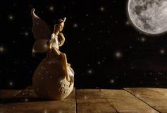 εικόνα μαγικού λίγη συνεδρίαση νεράιδων πέρα από την πέτρα στο moonligh Στοκ εικόνα με δικαίωμα ελεύθερης χρήσης
