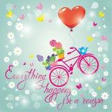Εικόνα με τα λουλούδια στα δοχεία και το ποδήλατο στο μπλε υπόβαθρο ουρανού δ Στοκ εικόνα με δικαίωμα ελεύθερης χρήσης