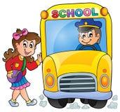 Εικόνα με το θέμα 7 σχολικών λεωφορείων Στοκ φωτογραφία με δικαίωμα ελεύθερης χρήσης