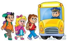 Εικόνα με το θέμα 1 σχολικών λεωφορείων Στοκ Εικόνα