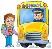 Εικόνα με το θέμα 3 σχολικών λεωφορείων Στοκ Φωτογραφίες
