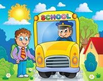 Εικόνα με το θέμα 4 σχολικών λεωφορείων Στοκ Φωτογραφίες