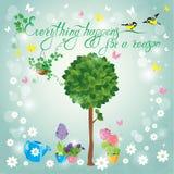 Εικόνα με το πράσινο δέντρο, τα λουλούδια στα δοχεία και τα πουλιά Στοκ εικόνες με δικαίωμα ελεύθερης χρήσης