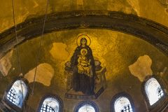 Εικόνα μωσαϊκών της Virgin apse του Hagia Sophia, Ista Στοκ εικόνες με δικαίωμα ελεύθερης χρήσης