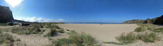 Εικόνα πανοράματος μιας μακριού παραλίας ή ενός κόλπου στον Ατλαντικό Ωκεανό στοκ φωτογραφίες