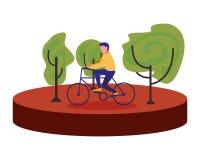 Εικόνα ποδηλάτων οδήγησης ατόμων υπαίθρια ελεύθερη απεικόνιση δικαιώματος