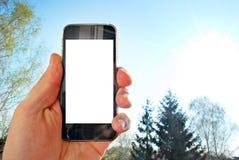 Εικόνα προτύπων του χεριού που κρατά το μαύρο κινητό τηλέφωνο με την κενή άσπρη οθόνη και το πράσινο δάσος δέντρων, υπόβαθρο φύση Στοκ Φωτογραφία