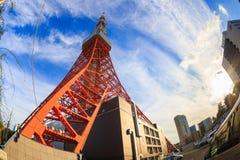 Εικόνα πύργων του Τόκιο στο φακό ματιών ψαριών, Τόκιο, Ιαπωνία Στοκ Φωτογραφίες