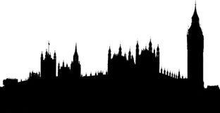 Εικόνα σκιαγραφιών του σπιτιού του Κοινοβουλίου και του πύργου ρολογιών Big Ben Στοκ εικόνα με δικαίωμα ελεύθερης χρήσης