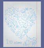 Εικόνα στο θέμα του σχολείου και την επιστήμη, το περίγραμμα των εικονιδίων Στοκ φωτογραφία με δικαίωμα ελεύθερης χρήσης