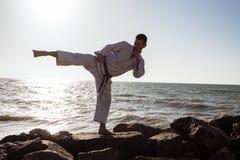 Εικόνα της αρσενικής karate τοποθέτησης μαχητών στο υπόβαθρο θάλασσας πετρών Στοκ Φωτογραφίες