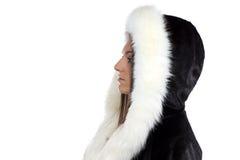 Εικόνα της γυναίκας στο παλτό γουνών Στοκ Φωτογραφίες