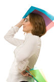 Εικόνα της επιχειρηματία που κρατά τους ζωηρόχρωμους φακέλλους στοκ φωτογραφία