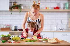 Εικόνα της νέας μητέρας με τα μαγειρεύοντας τρόφιμα κορών της στην κουζίνα Στοκ Εικόνες