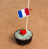 Εικόνα της σημαίας της Γαλλίας σε ένα cupcake Στοκ Εικόνα