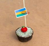 Εικόνα της σημαίας της Γκαμπόν σε ένα cupcake Στοκ φωτογραφίες με δικαίωμα ελεύθερης χρήσης