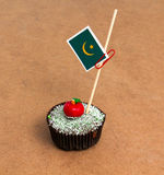 Εικόνα της σημαίας της Μαυριτανίας σε ένα cupcake Στοκ Εικόνες