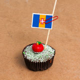 Εικόνα της σημαίας της Μαδέρας σε ένα cupcake Στοκ φωτογραφία με δικαίωμα ελεύθερης χρήσης