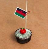 Εικόνα της σημαίας του Μαλάουι σε ένα cupcake Στοκ Εικόνα