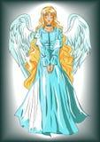 Εικόνα του αγγέλου σε ένα ύφος κινούμενων σχεδίων Απεικόνιση για τη διακόσμηση Στοκ εικόνα με δικαίωμα ελεύθερης χρήσης