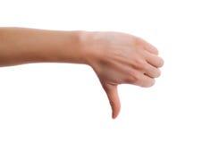 Εικόνα του ανθρώπινου χεριού που παρουσιάζει αντίχειρα κάτω στην απομόνωση Στοκ φωτογραφίες με δικαίωμα ελεύθερης χρήσης