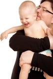 Εικόνα του ευτυχούς πατέρα με ένα μωρό που απομονώνεται Στοκ Εικόνα