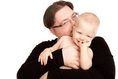 Εικόνα του ευτυχούς πατέρα με ένα μωρό που απομονώνεται Στοκ φωτογραφίες με δικαίωμα ελεύθερης χρήσης