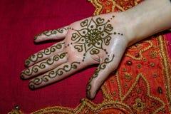 Εικόνα του διακόσμησης του ανθρώπινου χεριού με henna Στοκ Φωτογραφίες