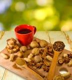 Εικόνα του καφέ και των καρυδιών Στοκ Εικόνα