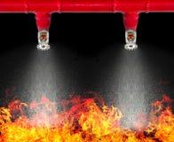 Εικόνα του κρεμαστού ψεκαστήρα πυρκαγιάς στο άσπρο υπόβαθρο με το cliipi Στοκ εικόνα με δικαίωμα ελεύθερης χρήσης