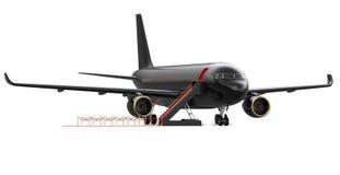 Εικόνα του μαύρου ιδιωτικού αεριωθούμενου αεροπλάνου ναύλωσης πολυτέλειας, αεροπλάνο Το VIP αεροπλάνο με ένα κόκκινο χαλί, τρισδι Στοκ Εικόνες