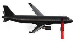 Εικόνα του μαύρου ιδιωτικού αεριωθούμενου αεροπλάνου ναύλωσης πολυτέλειας, αεροπλάνο Το VIP αεροπλάνο με ένα κόκκινο χαλί, τρισδι Στοκ Φωτογραφία