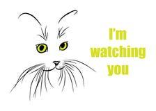 Εικόνα του ρύγχους γατών με τα μακριά μουστάκια επίσης corel σύρετε το διάνυσμα απεικόνισης Στοκ εικόνα με δικαίωμα ελεύθερης χρήσης