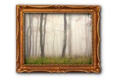 Εικόνα του misty δάσους στη ζωγραφική του πλαισίου Στοκ Εικόνες