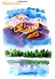 Εικόνα των βουνών και των λιμνών ελεύθερη απεικόνιση δικαιώματος