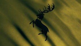 Εικόνα των μαύρων ελαφιών σε κίτρινο στα πρότυπα σπιτιών ενός Baratheon Παιχνίδι των θρόνων απεικόνιση αποθεμάτων