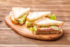 Εικόνα των σάντουιτς με τις οδοντογλυφίδες Στοκ Εικόνες